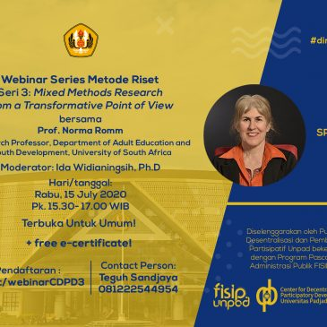 Webinar Series Metodologi Riset Seri 3 : Mixed Methods Research from a Transformative Poin of View